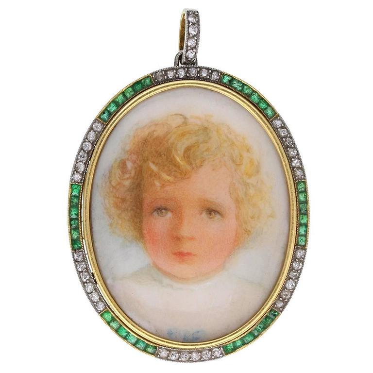 Antique Miniature Emerald Diamond Gold Portrait  Pendant