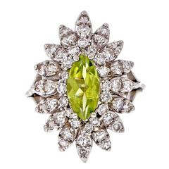 Marquise Peridot Diamond Gold Cluster Ring