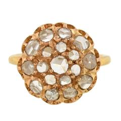 Victorian .80 Carats Rose Cut Diamonds Gold Cluster Ring