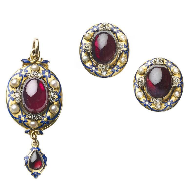 Victorian Enamel Garnet Pearl Diamond Gold Earrings and Pendant Suite