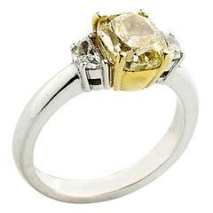 2.01 Carat GIA Cert Fancy Yellow Diamond Gold Ring