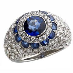 Sapphire Diamond Gold Bombe Ring