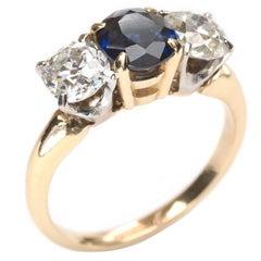 Sapphire Diamond Gold Three Stone Ring