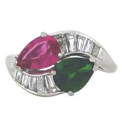 Vibrant Green and Pink Tourmaline Diamond Platinum Bypass Ring