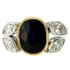 1940s Sapphire Diamond Gold Ring