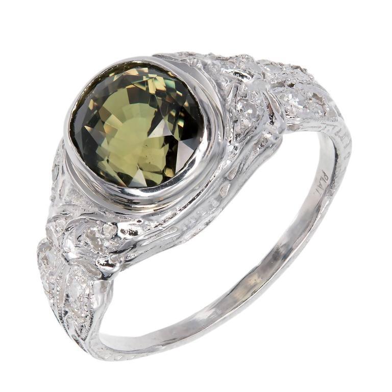 Cushion Cut Alexandrite Diamond Platinum Engagement Ring For Sale