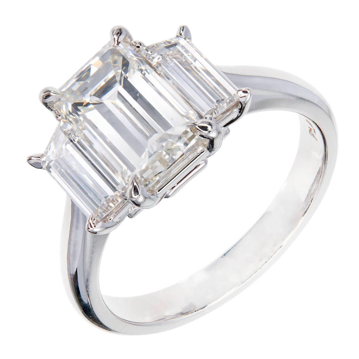 Peter Suchy Emerald Step Cut Diamond Platinum Engagement Ring