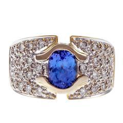 Tanzanite Pavé Diamond Gold Ring
