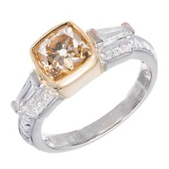 1.41 Carat GIA Cert Brown Yellow Cushion Diamond Gold Platinum Engagement Ring