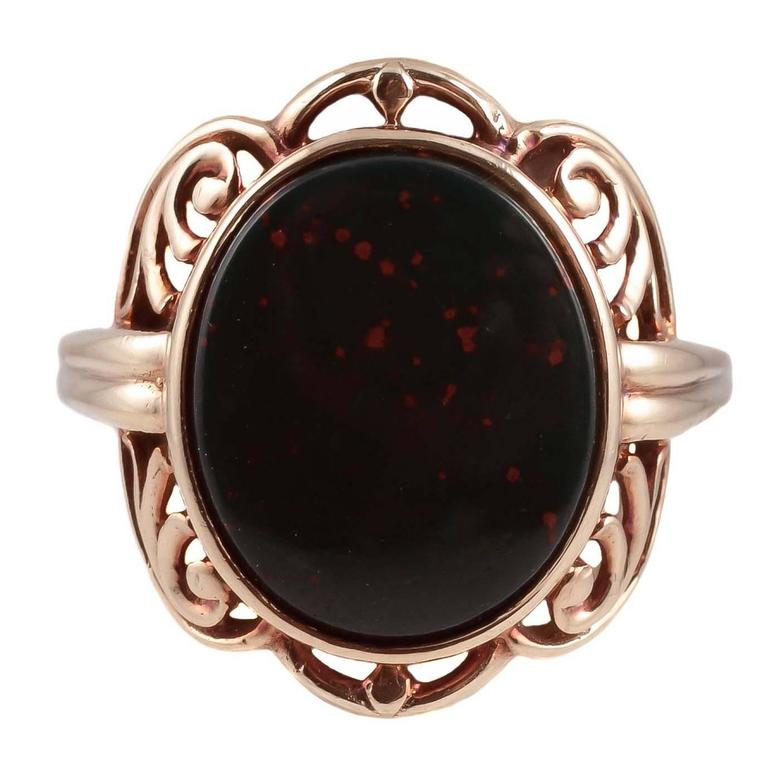 Arts and Crafts Bloodstone Gold Ring For Sale