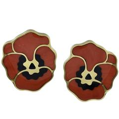 1980s Coral Black Jade Gold Pansy Flower Earclips