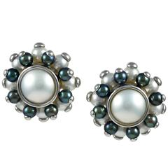 Verdura Cultured Pearl Gold Button Earclips