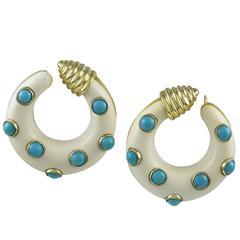Van Cleef & Arpels Turquoise Gold Hoops