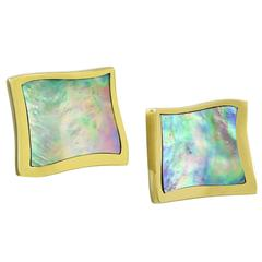 1980s Angela Cummings Abalone Shell Gold Earclips