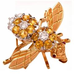 2.05 Carats Diamonds Gold Bumble Bee Brooch