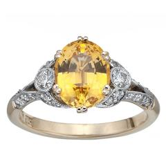 Golden Sapphire Diamond Gold Ring