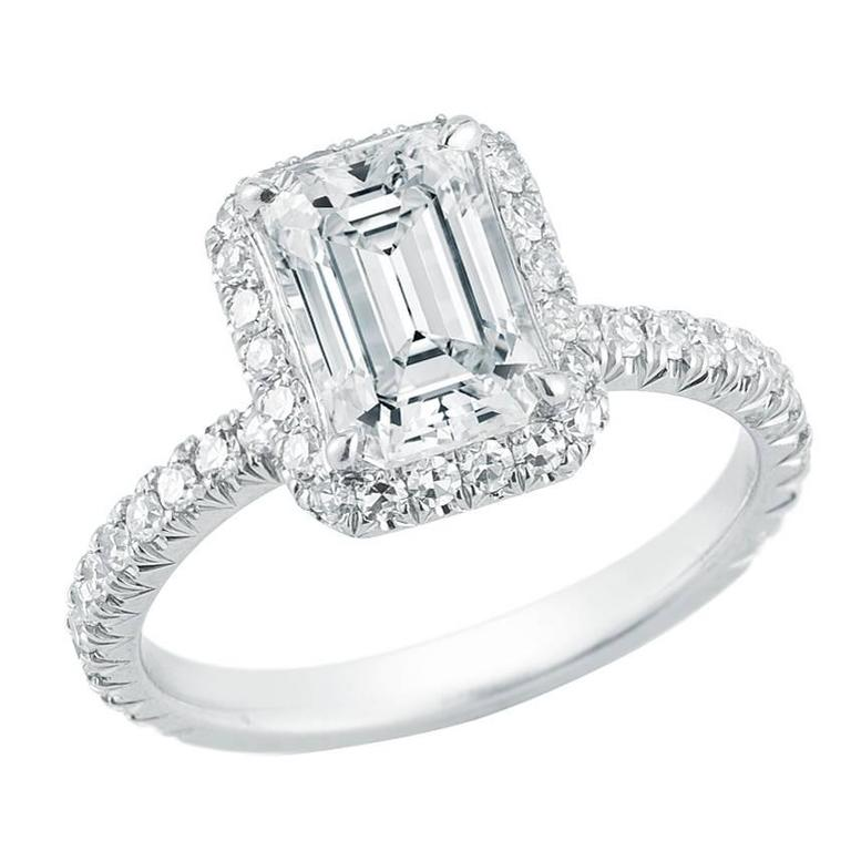 Marisa Perry Micro Pave Emerald Cut Halo Diamond Engagement Ring in Platinum