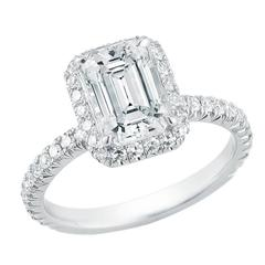 Emerald Cut Diamond Platinum Micro Pave Halo Engagement Ring