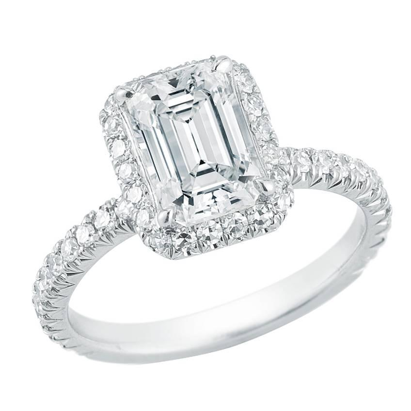 Emerald Cut Diamond Platinum Micro Pave Halo Engagement Ring For Sale at 1stdibs