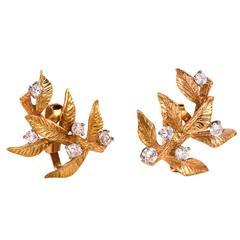 Diamond Gold Tree of Life Earrings