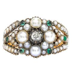 Yellow Gold Pearl, Emerald and Diamond set Fancy Ring