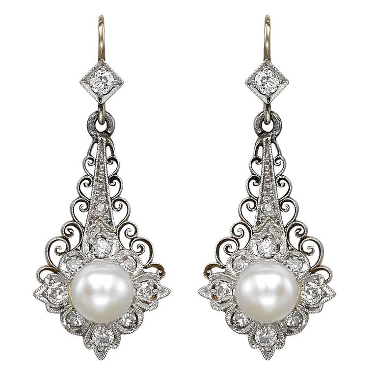 Platinum and Yellow Gold Pearl and Diamond Earrings