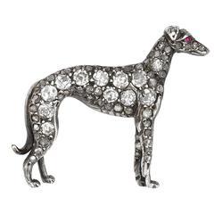 Silver and 18 Carat White Gold Brilliant Diamond Greyhound Brooch