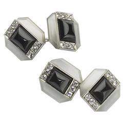 Art Deco Rock Crystal Black Onyx Diamond Gold Cufflinks
