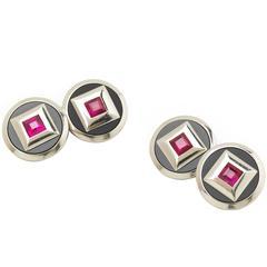 Ruby Black Onyx Platinum Cufflinks