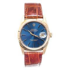 Rolex Yellow Gold Datejust Blue Dial Wristwatch c1990  Ref 16238