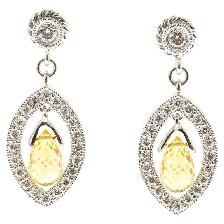 Yellow Sapphire Briolette Pave Diamond Gold Dangle Earrings