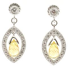 Yellow Sapphire Briolette Pave Diamond Gold Dangle Earrings