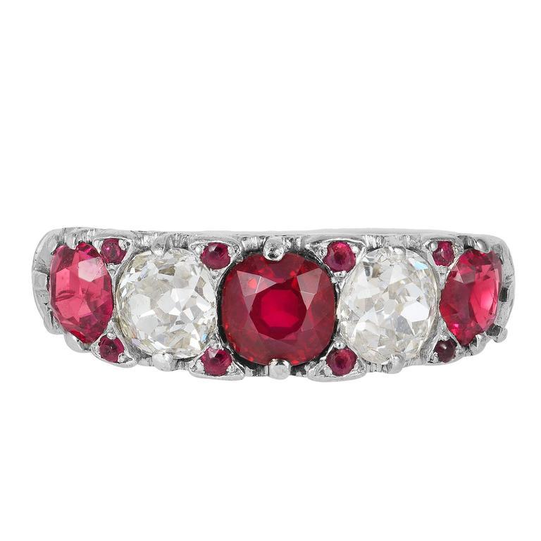 Tiffany & Co. Ruby Diamond Band Ring, Circa 1910