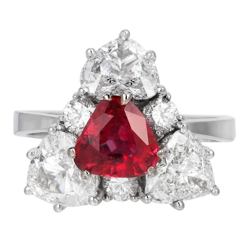 1.38 Carat Ruby Diamond Gold Ring