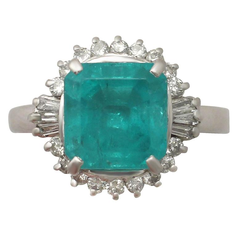 1950s 3.65 Carat Emerald and Diamond Platinum Cocktail Ring