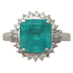 1950s 3.65 Carat Emerald and Diamond Platinum Cocktail Ring