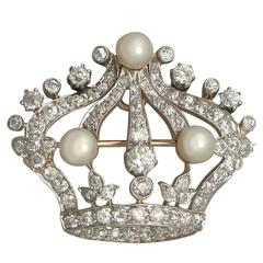 Pearl and 2.63 Carat Diamond, 14k Yellow Gold 'Crown' Brooch