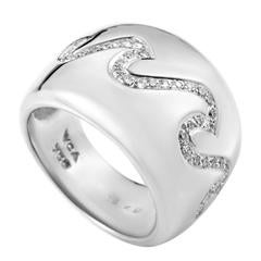 Van Cleef & Arpels Diamond White Gold Wave Band Ring