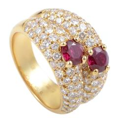 Van Cleef & Arpels Ruby Diamond Pave Gold Double Band Ring