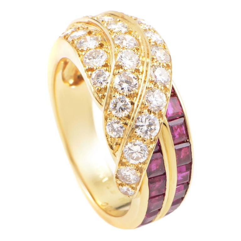 Van Cleef & Arpels Ruby Diamond Gold Band Ring