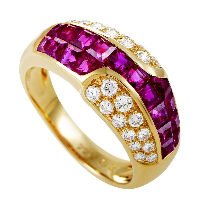 Mouawad Ruby Diamond Gold Band Ring