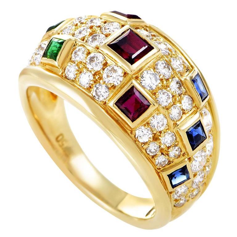 Piaget Precious Gemstone Diamond Gold Band Ring For Sale