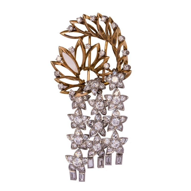 1960s Diamond and Gold Star Brooch
