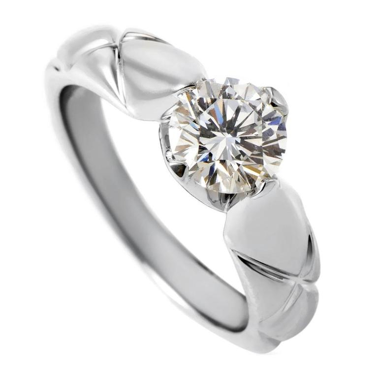 chanel matelasse carat diamond platinum solitaire engagement ring
