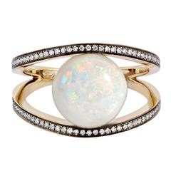 18K Grey Gold Rhombus Cocktail Ring with Opal and White Diamonds