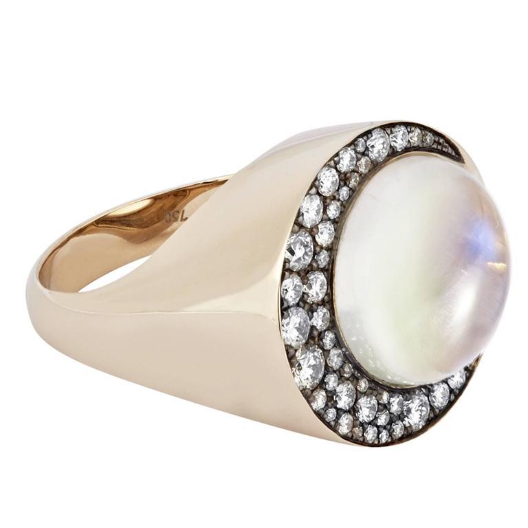 "Tilsam Blue Moonstone Diamond Gold ""Eclipse"" Ring For Sale"