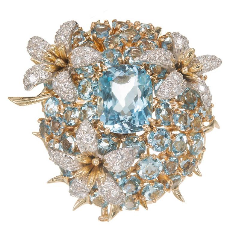 "Tiffany & Co. Schlumberger Aquamarine Diamond Gold Floral ""Cousins"" Brooch"