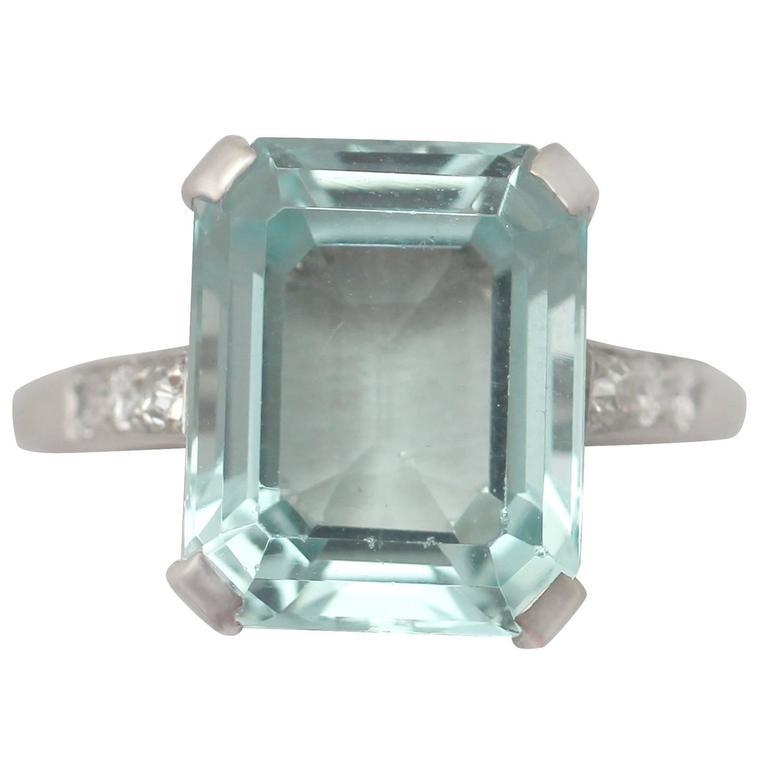 1950s 4 98 Carat Aquamarine And Diamond White Gold