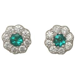 0.36Ct Emerald and 0.80Ct Diamond, 18k Yellow Gold Cluster Earrinngs