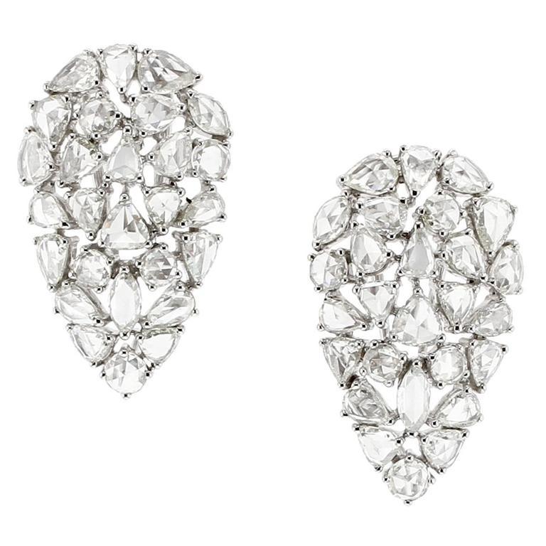 Rose Cut Diamond Gold Earrings For Sale